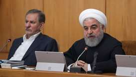 Iranian President Hassan Rouhani speaks during the cabinet meeting in Tehran.