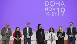 Her Highness Moza bint Nasser, Chairperson of Qatar Foundation, with the winners of the 2019 WISE Aw