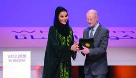 Sheikha Moza presents WISE Education Prize to Larry Rosenstock
