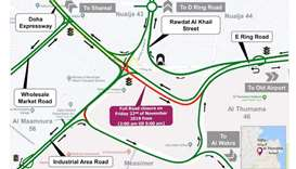 Closure for traffic coming from Rawdat Al Khail and Doha Expressway towards E-Ring Road
