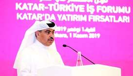 HE al-Kuwari addressing the Qatari-Turkish Business Forum in Ankara.
