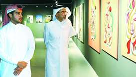 HE the Minister of Culture and Sports Salah bin Ghanem al-Ali and ARC curator Khalifa al-Thani at AR