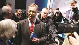 Brexit Party leader Nigel Farage attends the party's policy launch in London yesterday.