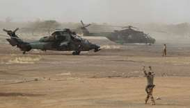 A French Eurocopter Tiger (Eurocopter EC665 Tigre) helicopter sits at the FAMa (Malian Armed Forces)
