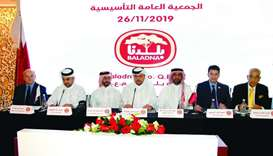 Baladna's newly-appointed chairman Mohamed Moataz Mhd Ruslan al-Khayyat (centre) presiding over the