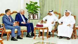 Qatar Chamber second vice chairman Rashid bin Hamad al-Athba in a meeting with Farouq al-Hadidi, the
