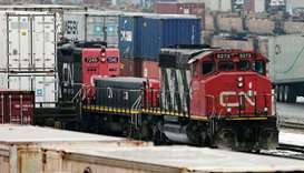 Trains are seen in the yard at the at the CN Rail Brampton Intermodal Terminal after Teamsters Canad