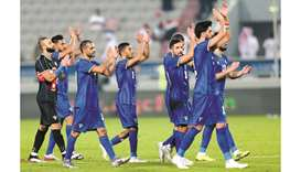 Kuwait players celebrate their win over Saudi Arabia in their Arabian Gulf Cup match at Abdullah Bin