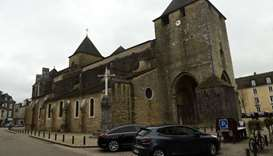 The facade of the Sainte-Marie cathedral in Oloron-Sainte-Marie, near Pau, southwestern France, afte
