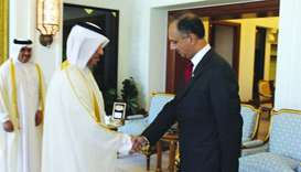 Khan meets with HE the Prime Minister and Minister of Interior Sheikh Abdullah bin Nasser bin Khalif