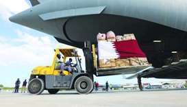 The first consignment of relief items sent by Qatar to help flood victims in the affected areas of S