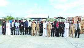 A team from the Qatari International Search and Rescue Group (Lekhwiya) accompanied the aid items.