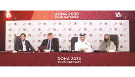 From left: The Olympic Council of Asia's evaluation Committee's Vinod Kumar Tiwari, Andrey Kryukov a