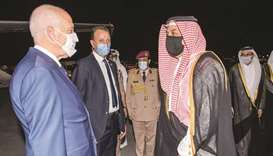 Tunisian President Kais Saied is being greeted upon arrival at Doha International Airport by HE the