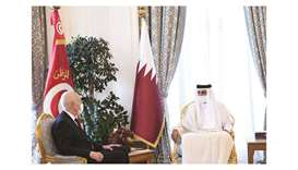 His Highness the Amir Sheikh Tamim bin Hamad al-Thani and Tunisian President Kais Saied held an offi