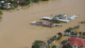 Buildings are flooded in the aftermath of Typhoon Vamco, in the Cagayan Valley region in the Philipp