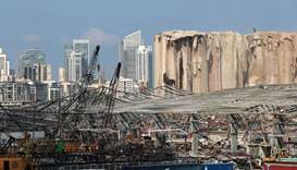 A view shows damage at the site of a massive explosion in Beirut's port area, as part of the city's
