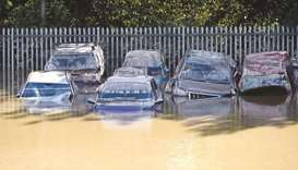 Cars caught in flood