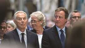 Former prime ministers Tony Blair and David Cameron.