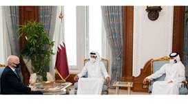 During the meeting, they reviewed co-operation relations between the State of Qatar and FIFA, especi