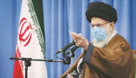 Iran's Supreme Leader Ayatollah Ali Khamenei speaks during a meeting with the government over the ec