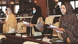 OATH-TAKING: Newly elected members of Gilgit-Baltistan Assembly taking oath during a ceremony admini