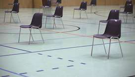 Chairs are seen in the waiting area of a mass coronavirus testing station operated by the Austrian a