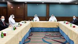 Members of the committee during the meeting, which was presided over by Qatar Chamber board member N