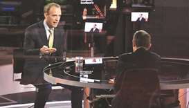 Foreign Affairs Secretary Dominic Raab speaks during BBC TV's The Andrew Marr Show in London yesterd