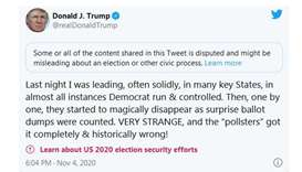 Twitter labels Trump tweet about 'surprise ballot dumps' as possibly disputed and misleading