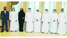 HE the Minister of Transport and Communications Jassim Seif Ahmed al-Sulaiti with officials from MoT