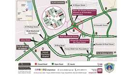 The closure will be carried out to instal directional signage gantries, Ashghal said in a tweet.