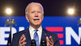 US Democratic presidential nominee Joe Biden speaks about election results in Wilmington, Delaware