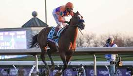 John Velazquez aboard Authentic (9) crosses the finish line after winning the Breeders' Cup Classic
