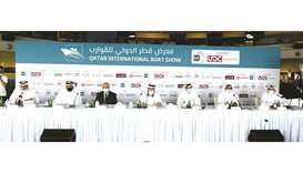 Officials of Al Mannai Plus Events and Qawarib sponsors at the press conference on Sunday. PICTURE: