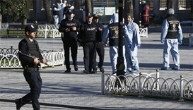 Police secure the area after an explosion near the Ottoman-era Sultanahmet mosque, known as the Blue