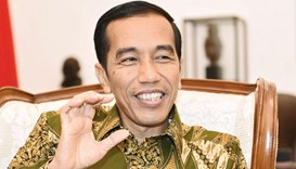 Widodo gestures as he speaks during an interview in his office at Istana Merdeka, the president's of