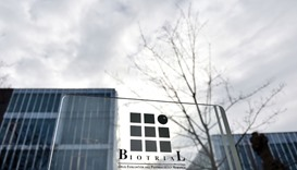 A picture taken yesterday shows the logo of the Biotrial laboratory on its building in Rennes, weste