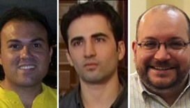 (Left to right:) Three of the four freed Iranian-Americans who have now boarded a plane to the Unite