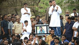 Congress Party vice president Rahul Gandhi speaks to students protesting against the death of Rohit