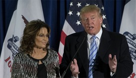 Republican presidential candidate Donald Trump with former Alaska Gov. Sarah Palin