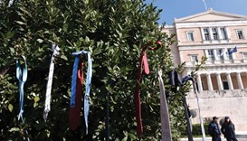 Lawyers' ties are left hanging on a bush in front of the Greek parliament in Athens during a massive