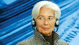 IMF managing director Christine Lagarde attends a session at the annual meeting of the World Economi
