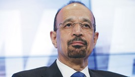 Khalid al-Falih, chief executive officer of Saudi Arabian Oil Co (Saudi Aramco), looks on during a p