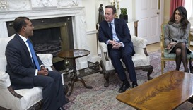 British PM David Cameron meets with former Maldives president Mohamed Nasheed, left, and lawyer Amal