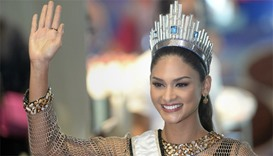 Miss Universe Pia Alonzo Wurtzbach of the Philippines waves during her homecoming
