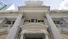 Flags fly outside the central bank of Argentina in Buenos Aires. The one-year loan, finalised with s