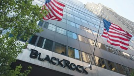 The BlackRock logo is displayed at the company's offices in New York. The world's largest asset mana
