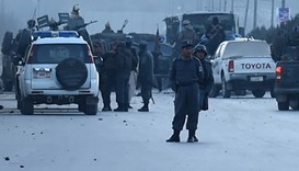 Afghan security personnels  at the site