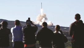 The SpaceX Falcon rocket lifts off from Space Launch Complex 4E at Vandenberg Air Force Base in Cali